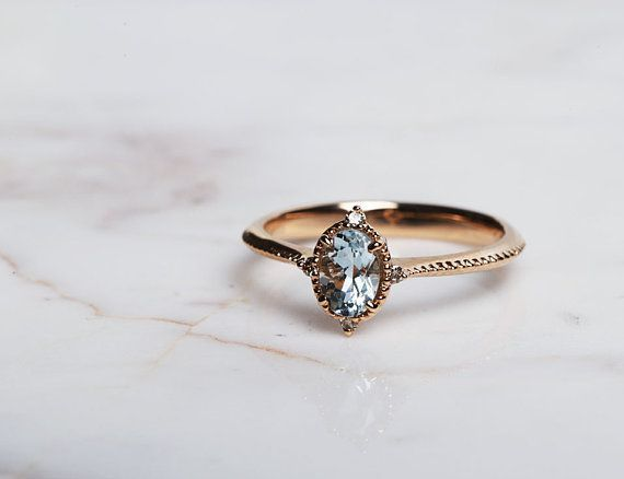 Photo of Vintage aquamarine engagement ring 1.3 ct oval aquamarine, white diamond, rose gold yellow gold …