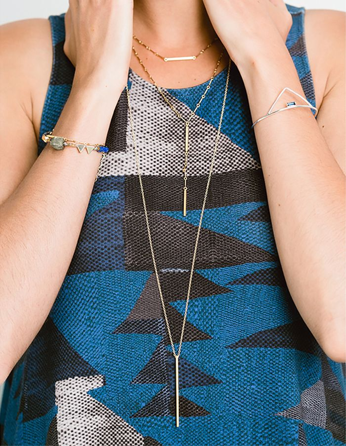 Layered necklaces, bar necklaces