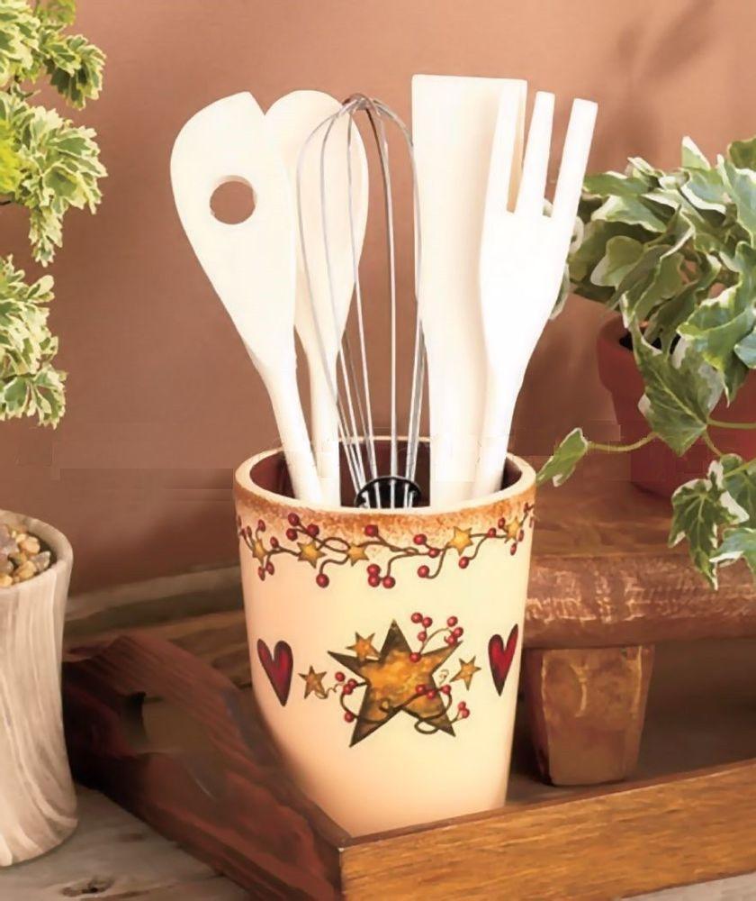 Country Primitive Heart Star Berry Utensil Crock Holder Organizer Kitchen Decor Collection