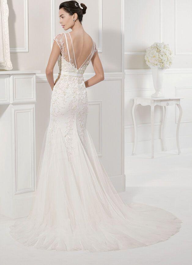 Illusion Open Back Floral Tulle Vintage Trumpet Wedding Dress Cap ...