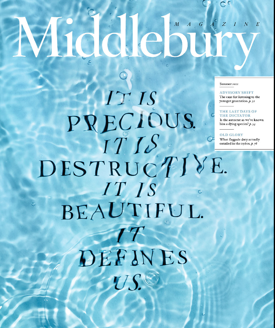 Grand Gold Award in Design - Middlebury College, Middlebury College Magazine Summer 2012 cover