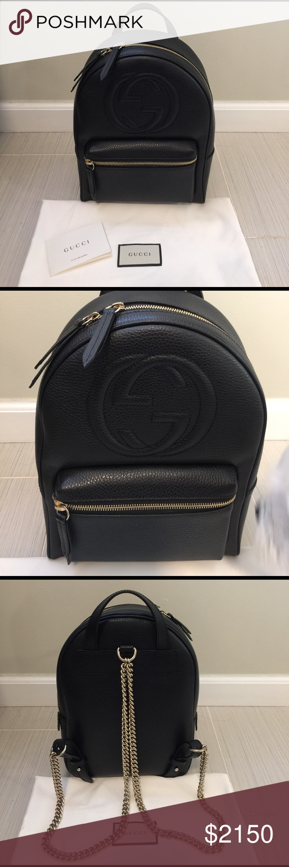 18923e91075 Gucci Soho leather chain backpack Gold toned hardware Black leather  Embossed interlocking G Cotton lining Top handle with 2