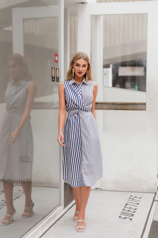 Women Patchwork Striped Summer Beach Elegant Button Bohemian Shirt Long Dress Bohemian Shirts Long Shirt Dress Dresses [ 1500 x 1000 Pixel ]