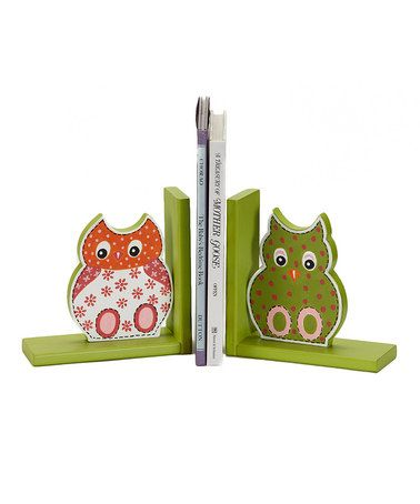 Green & Pink Owl Bookends