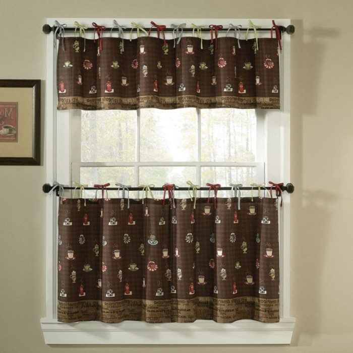 Picture Of Curtain With Brown Color And Coffee Themed Brown Kitchen Curtains Coffee Theme Kitchen Kitchen Curtains Valances