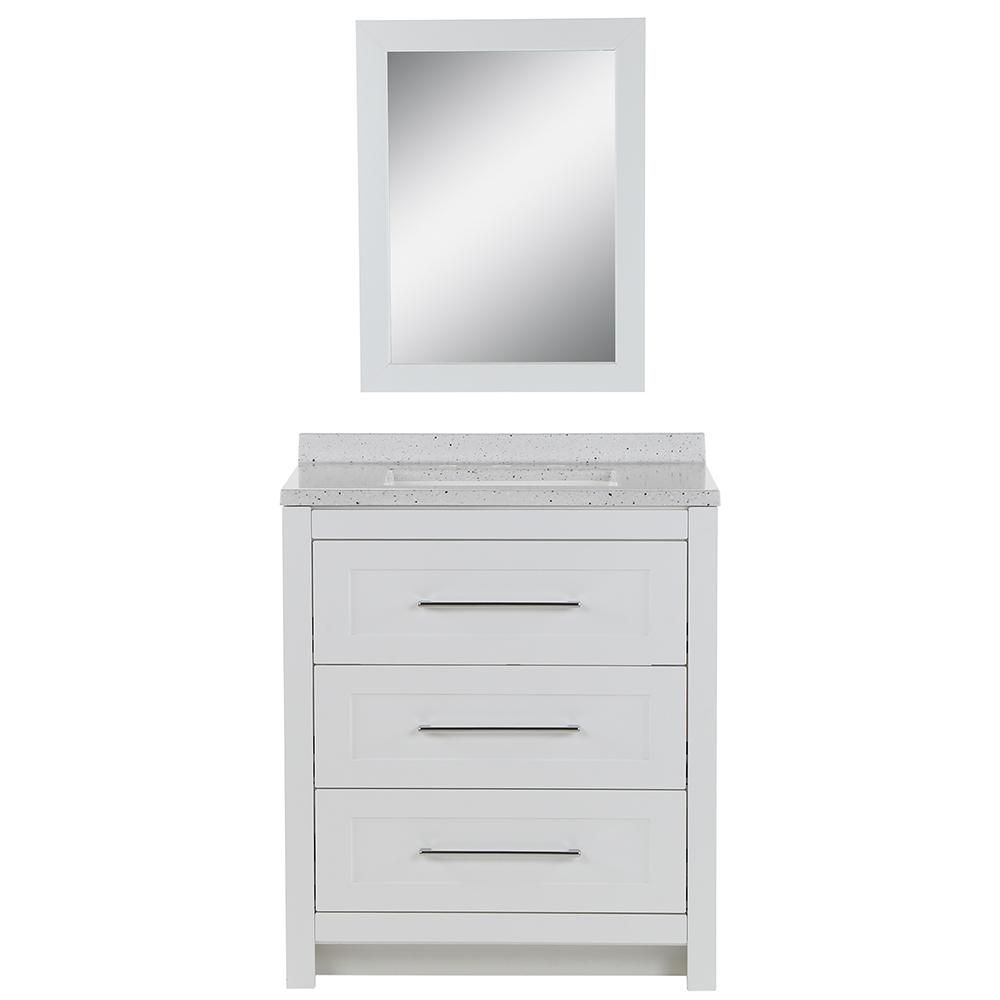 Glacier Bay Sandhill 30 5 In W Bath Vanity In White With Solid Surface Vanity Top In Silver Ash With White Sink And Mirror W2030p3 Wh The Home Depot In 2020 Solid Surface