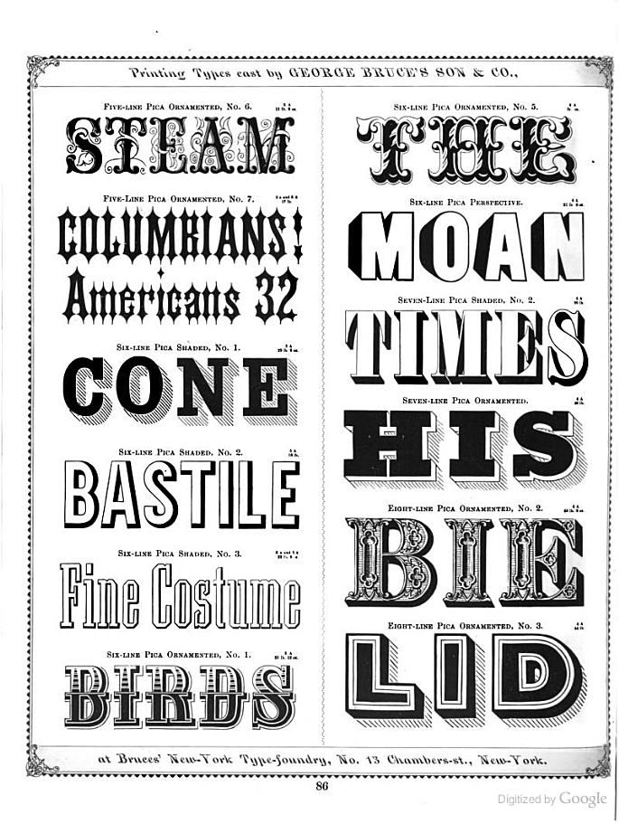 Specimens of printing types made at bruces new york type foundry