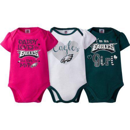 5f7e58c76 NFL Philadelphia Eagles Baby Girls Short Sleeve Bodysuit Set, 3-Pack, Infant  Girl's, Size: 0 - 3 Months, Green