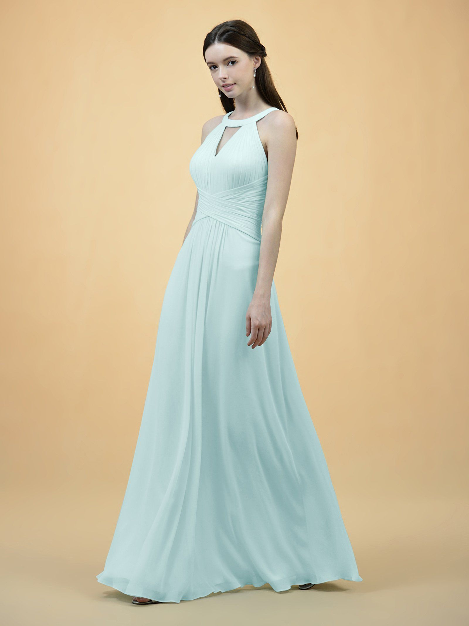 1feb22153c7 Alicepub Keyhole Bridesmaid Dress Long Formal Evening Prom Gown For Wedding  Maxi Aqua Blue US8