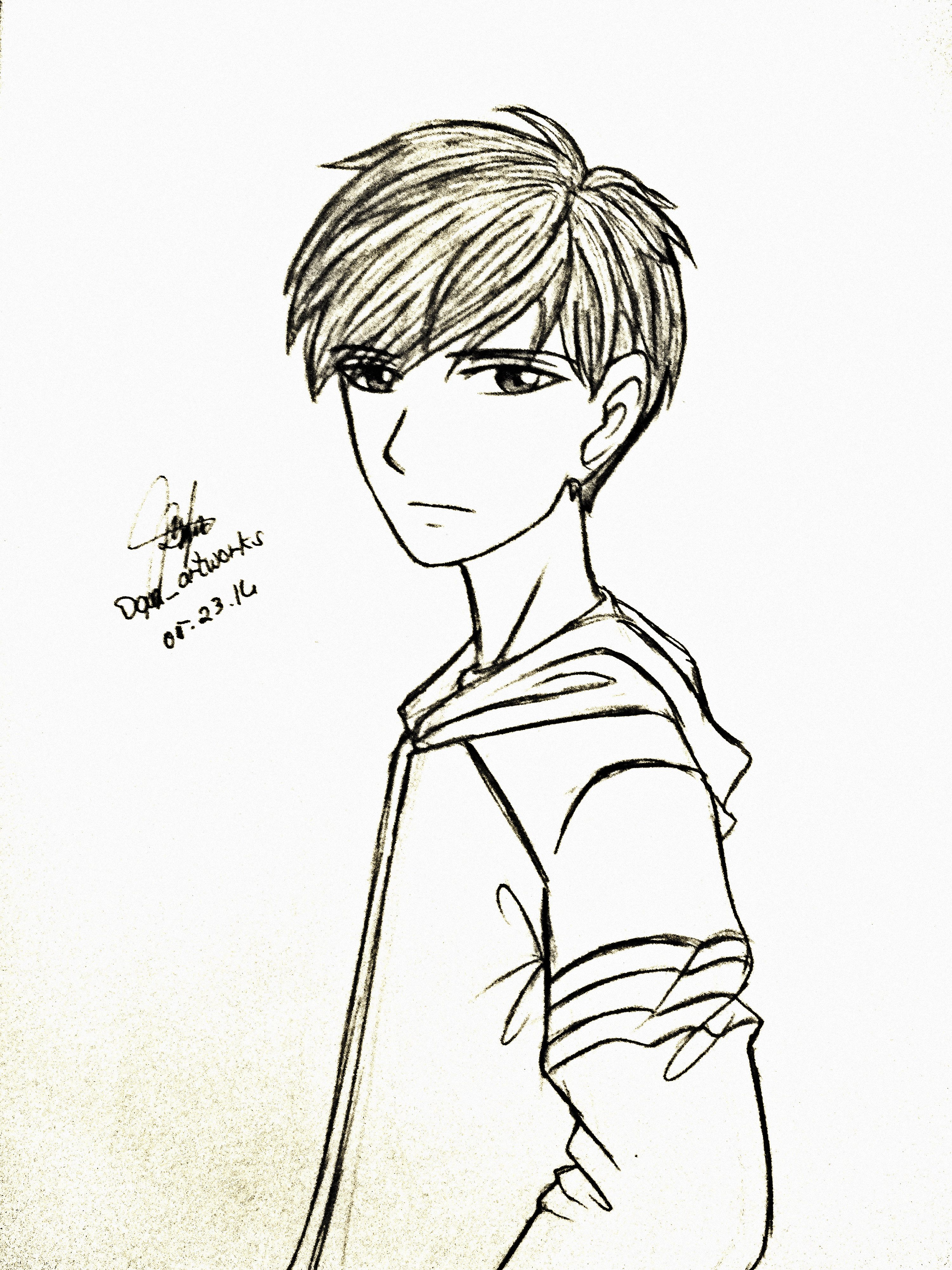 Drawing Anime Boy Guy Jacket Hoodie 3 Anime Drawings Male Sketch