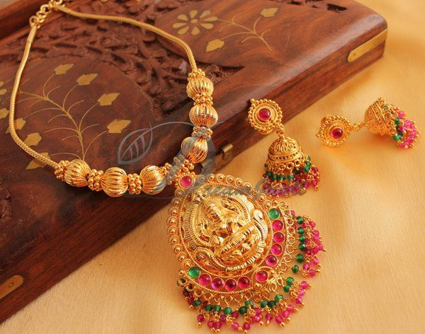 61a9cf471324e GORGEOUS GOLD PLATED LAKSHMI NECKLACE SET WITH RUBY EMERALD BEADS ...