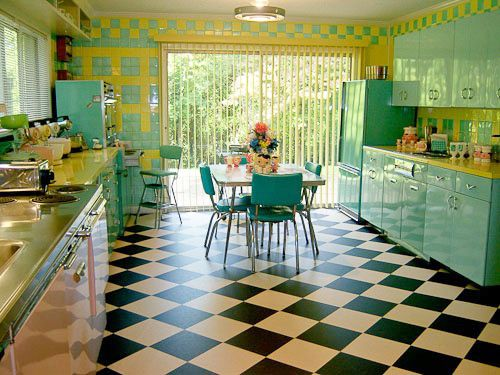 Turquoise Kitchens This Bright And Yellow 1950 S Time Capsule Kitchen Is Pretty