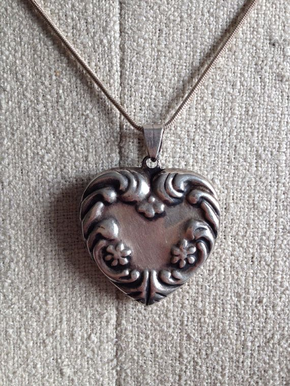 Sterling Puffy Heart Pendant Silver Heart Charm by CakeBoxVintage, $46.60