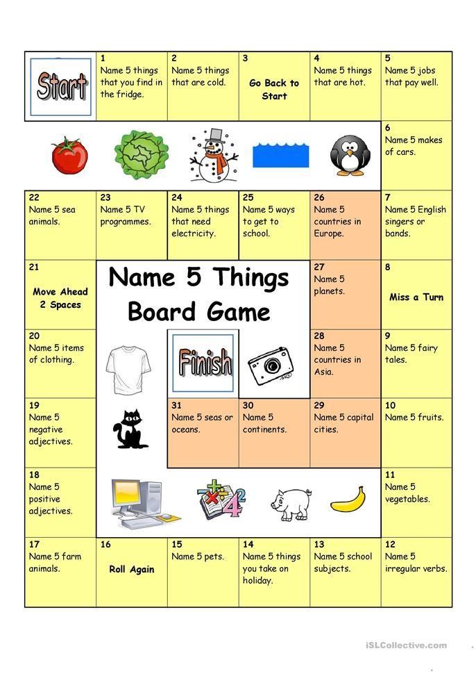 Board Game - Name 5 Things Worksheet - Free ESL Printable Worksheets Made  By Teachers Board Games, Speaking Games, Esl Board Games