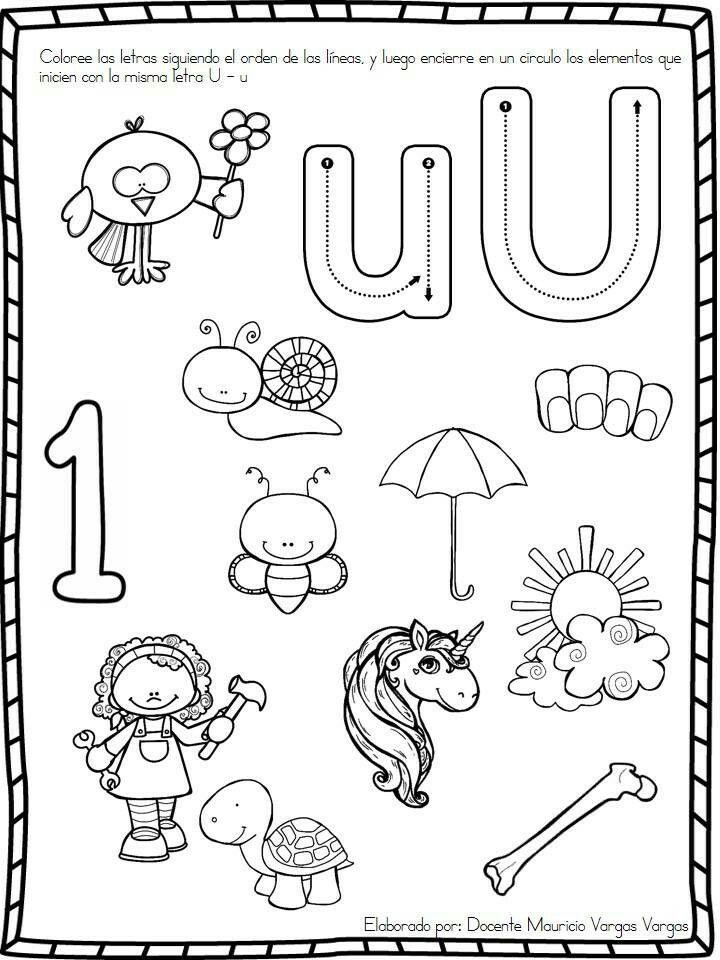 Vocal U Actividades De Letras Actividades De Lectura Preescolar Actividades De Escritura
