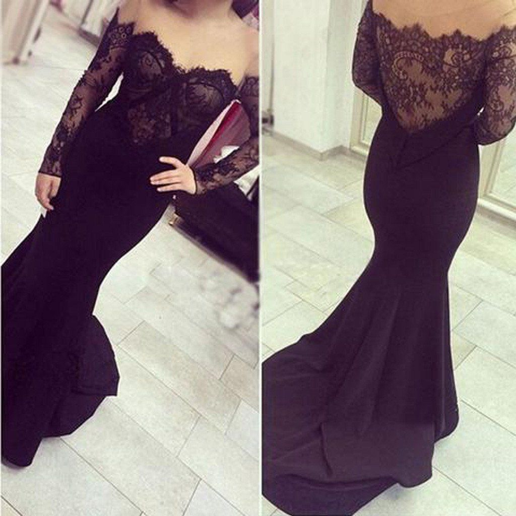 a89c381008b Sexy Off Shoulder See Through Black Lace Long Sleeve Long Mermaid Jersey  Prom Dresses