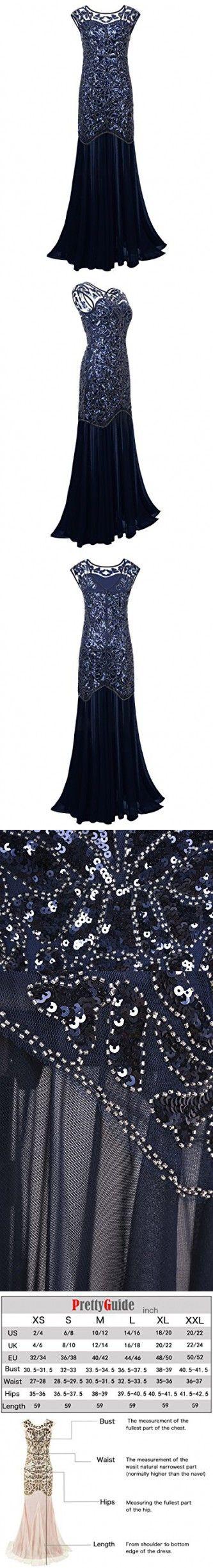 9da6682510049b PrettyGuide Women 's 1920s Black Sequin Gatsby Maxi Long Evening Prom Dress