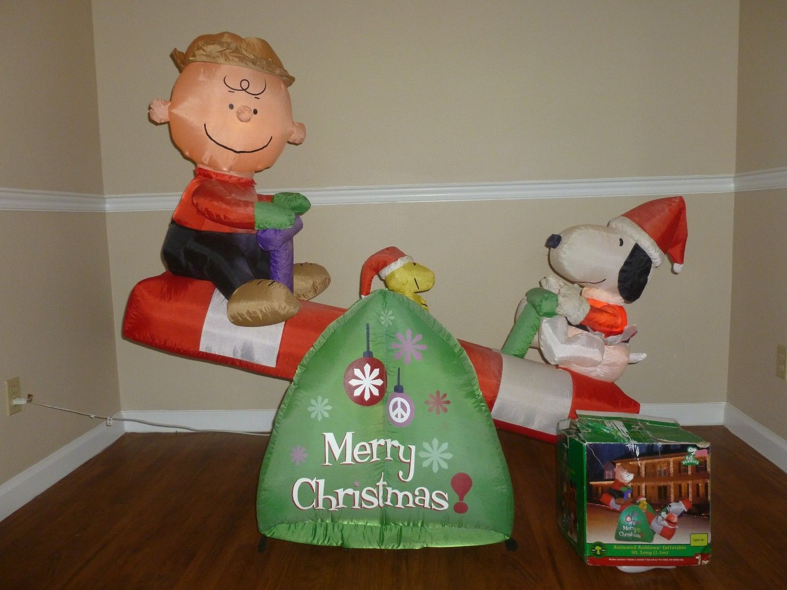 Peanuts christmas tree ornaments - Big Rare Peanuts Airblown Charlie Brown Snoopy Christmas Inflatable Decoration