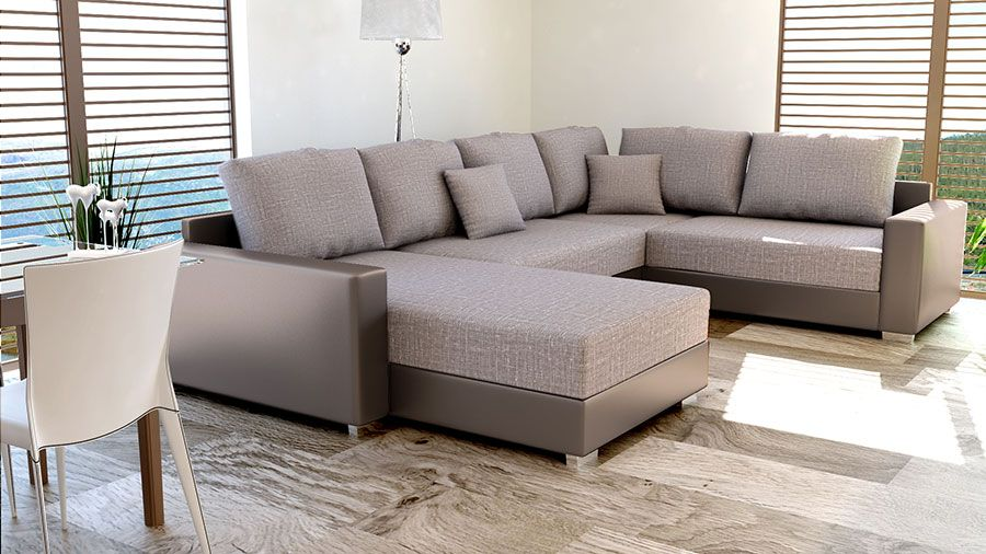 Canapé d angle convertible en PU taupe et tissu taupe chiné CIRILLO