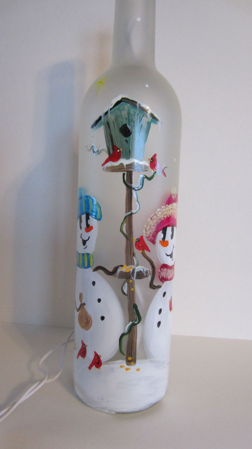 Snowmen Lighted Frosted Wine Bottle by EverythingPainted