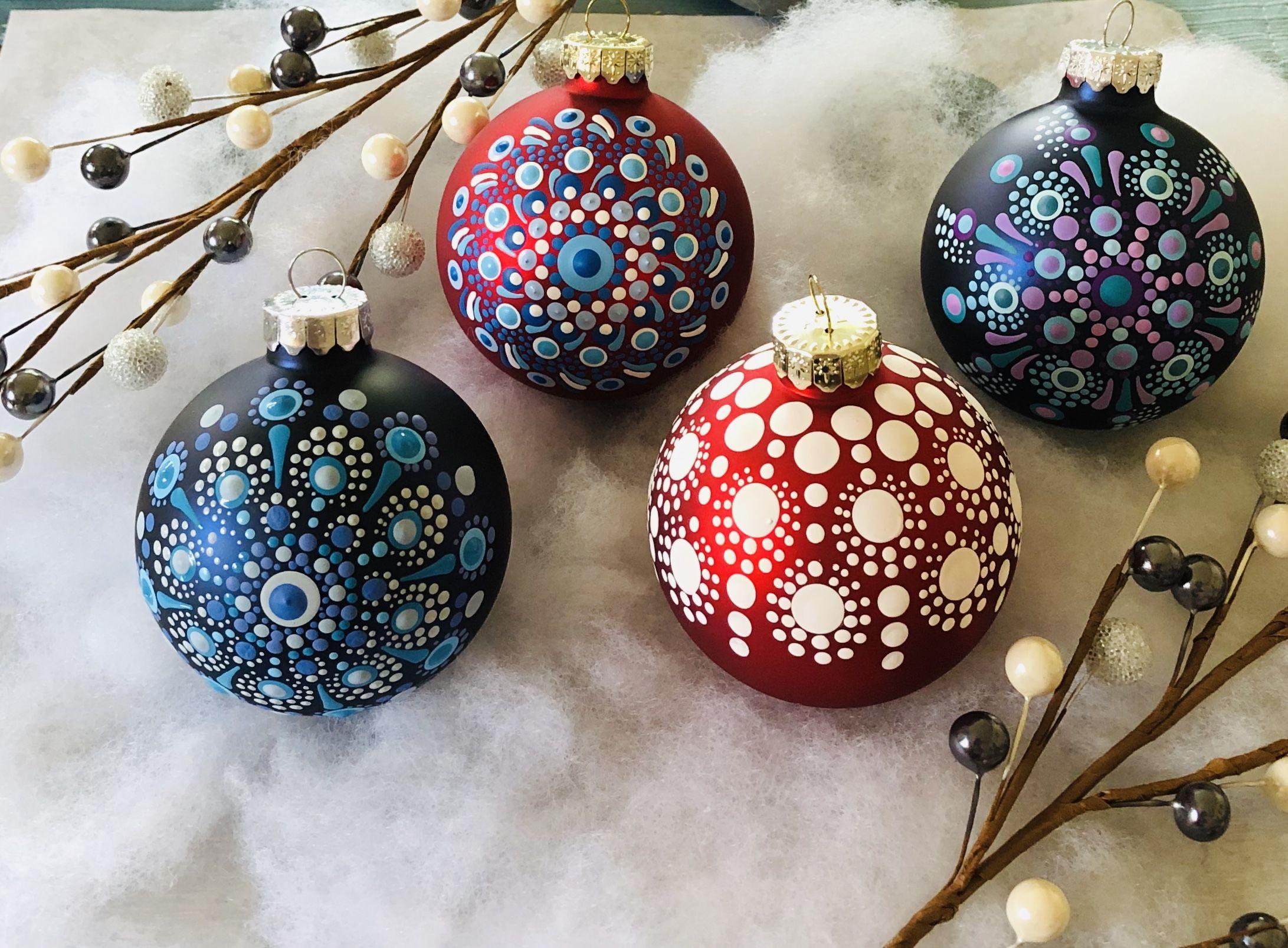 Hand Painted Mandala Glass Christmas Ornaments Holiday Crafts Christmas Christmas Ornaments Christmas Ornament Crafts