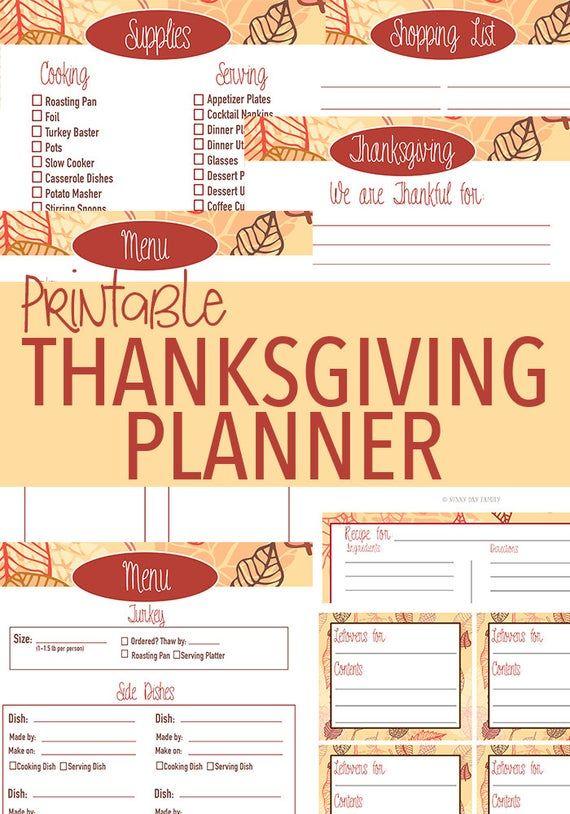 Printable Thanksgiving Planner  Thanksgiving Dinner  | Etsy