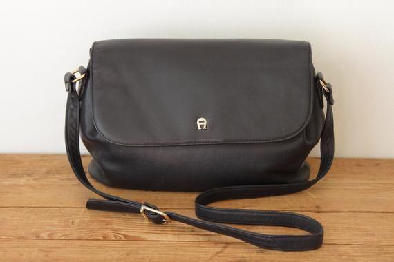 80779b5205041 Vintage ETIENNE AIGNER Navy Leather Shoulder Bag / Dark Blue Leather ...