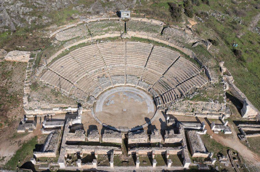 Amphitheater im griechischen Philippi. Die 356 vor Christi Geburt gegründete...