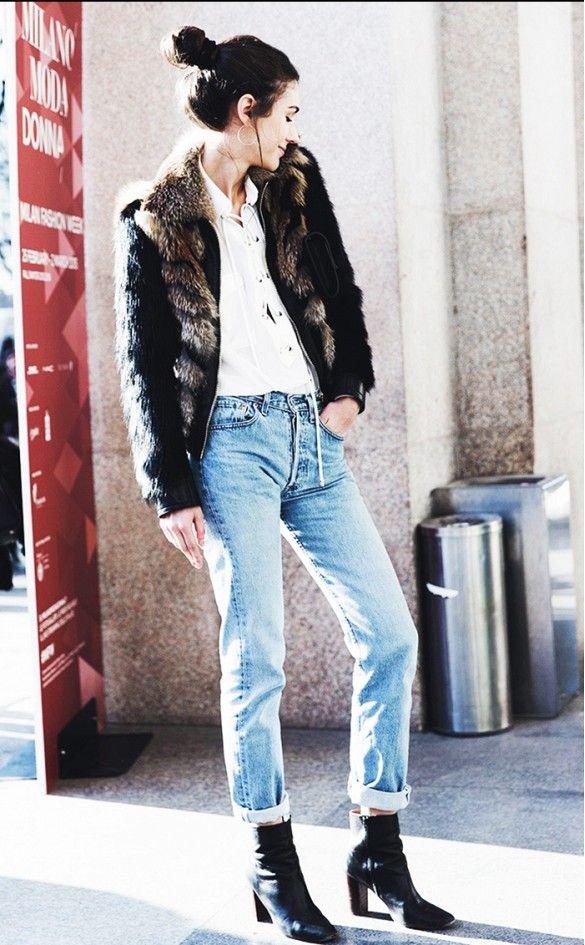 Fur jacket + high-waist denim