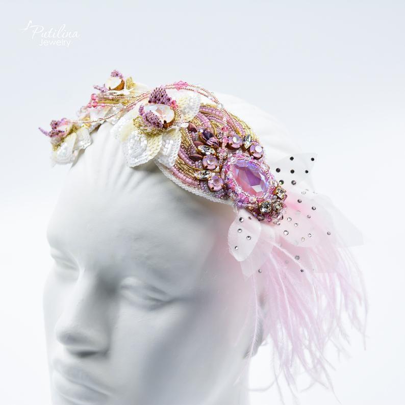 Bridal headband, flapper headpiece, rhinestone headband