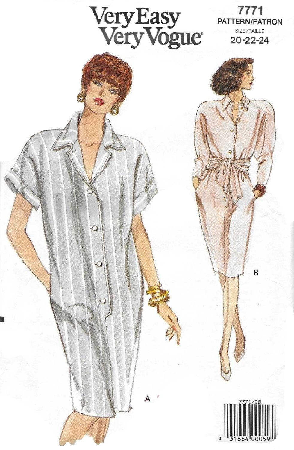 Vogue 7771 Women\'s 90s Tapered Dress Sewing Pattern Bust 42 44 46