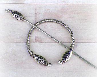 Celtic Shawl Pin Mimimalistic Brooch Penannular Silver Vintage Hammered  Minimalist Cloak Style Scarf Pin Stick Pin