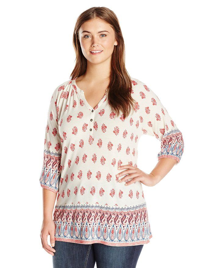 c74a44ca4df Lucky Brand Women s Plus-Size Woodblock Border Top