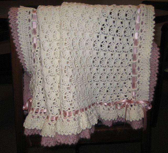 Ruffle crochet afghan