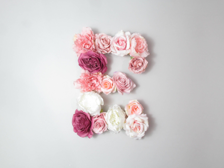Floral Monogram Flower Letter E Nursery Lettering Above Crib Decor Art