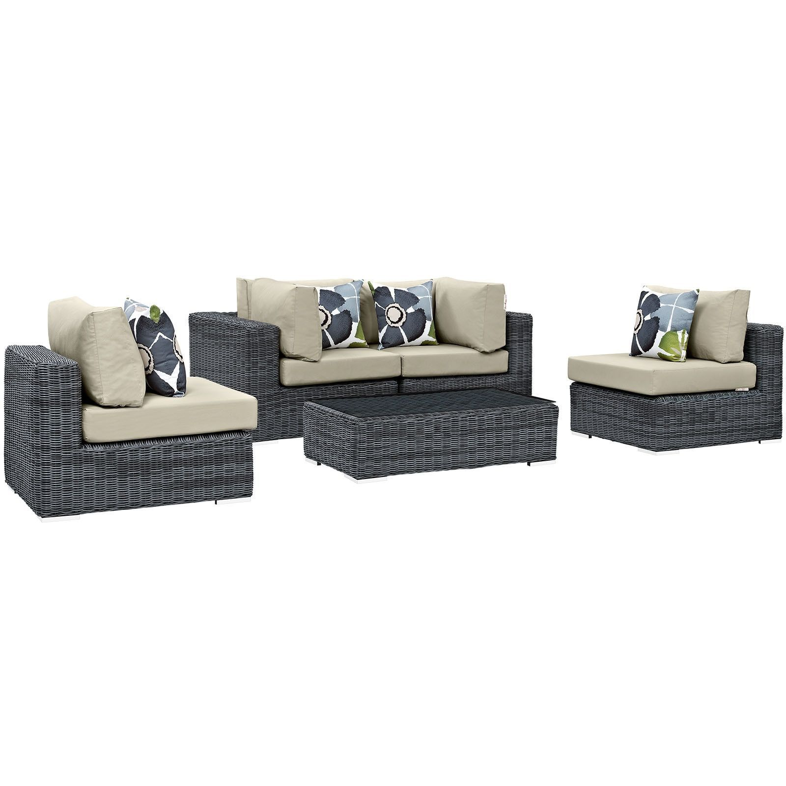 Modway Summon piece Outdoor Patio Sunbrella Sectional Set Canvas
