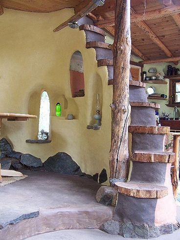 cob house plans | Natural Stairs | Cozy Indoor Spaces | Straw Bale