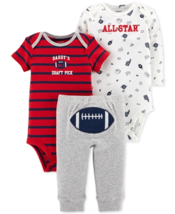 7bf285a26 Carter s Baby Boys 3-Pc. Football Cotton Bodysuits   Pants Set - Red ...