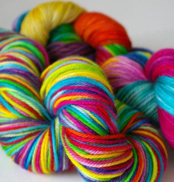 Rainbow Wool Yarn: Hand Painted Superwash Merino, 4 oz. (Worsted Weight) on Etsy #yarn #rainbow