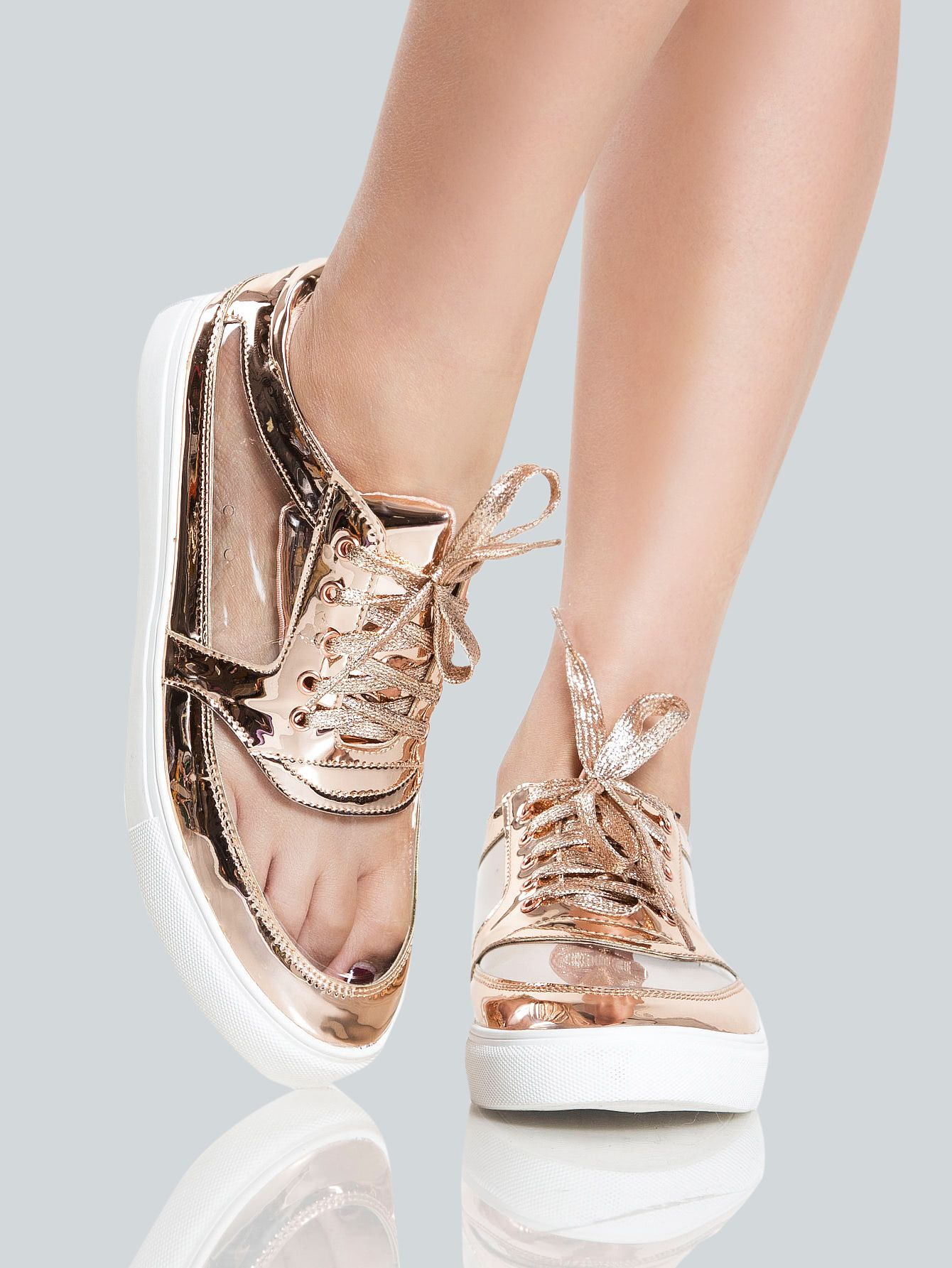 7024644c0617 Clear Metallic Sneakers ROSE GOLD. Shop Clear Metallic Sneakers ROSE GOLD  online. SheIn offers ...