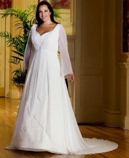 32c66732a159b long sleeve plus size wedding dresses with an empire waistline | plus size  empire waist wedding dresses with sleeves
