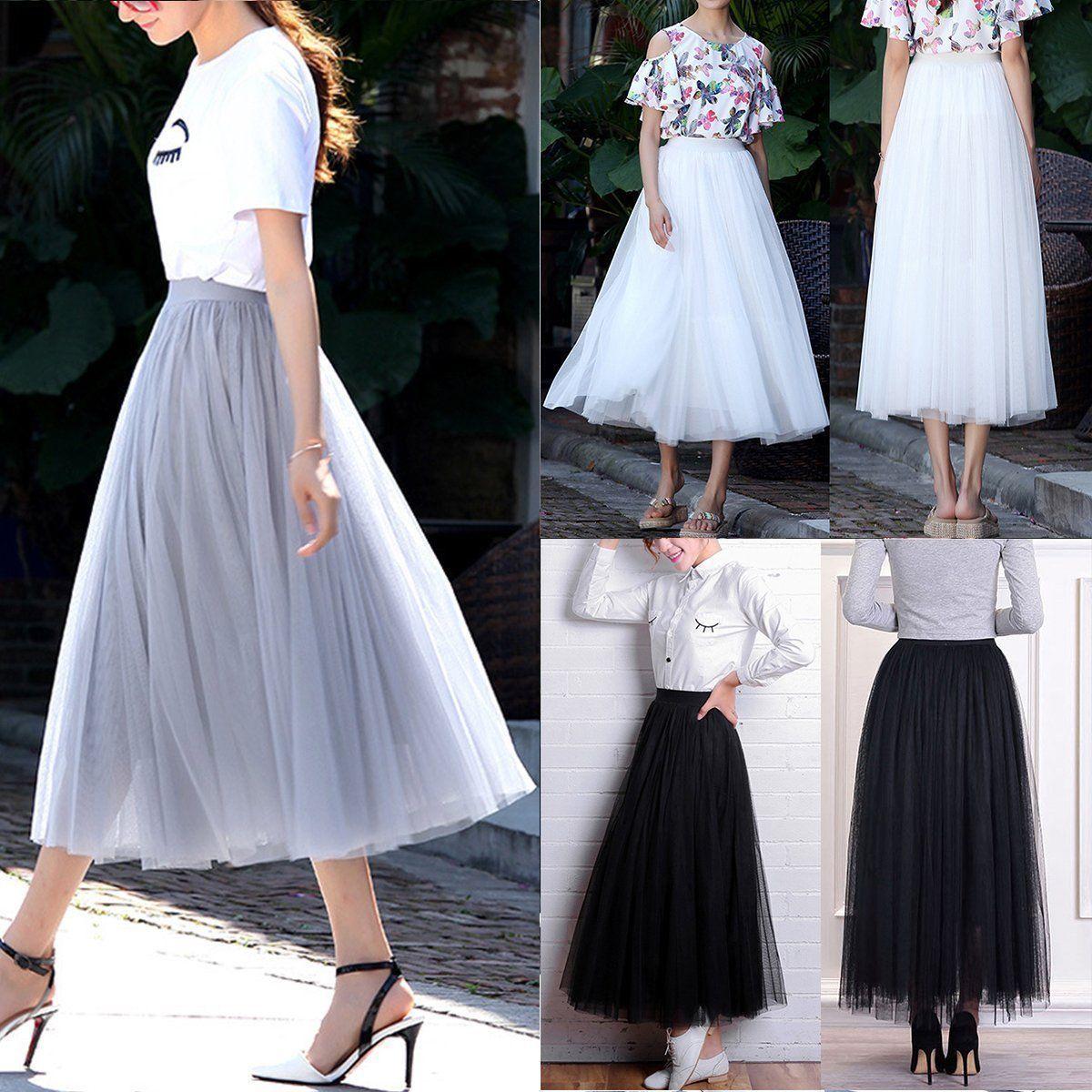 Punk 40/'s 50/'s Rockabilly Princess Women Multi Layer Tulle Maxi Tutu Long Skirt