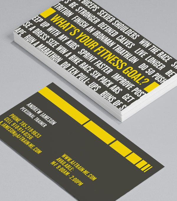 Browse Business Card Design Templates Fitness Business Card Goals Template Personal Trainer Business