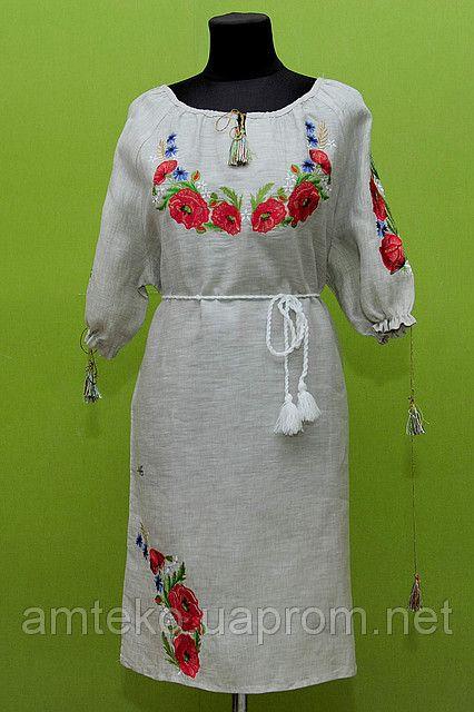 """Вишиванка жіноча, коричневий льон, короткий рукав, """"плаття маки""""., цена 750 грн., купить в Киеве — Prom.ua (ID#21382717)"""