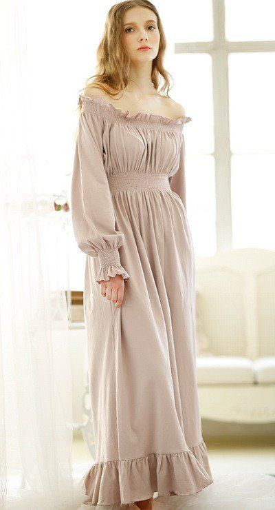 long+sleeve+white+nightgown+cotton  8ece9c4e89c3
