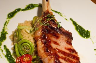 Grilled Pork with Fiddlehead Ferns, Spring Garlic Couscous and Nasturtium Pesto Recipe on Food52, a recipe on Food52
