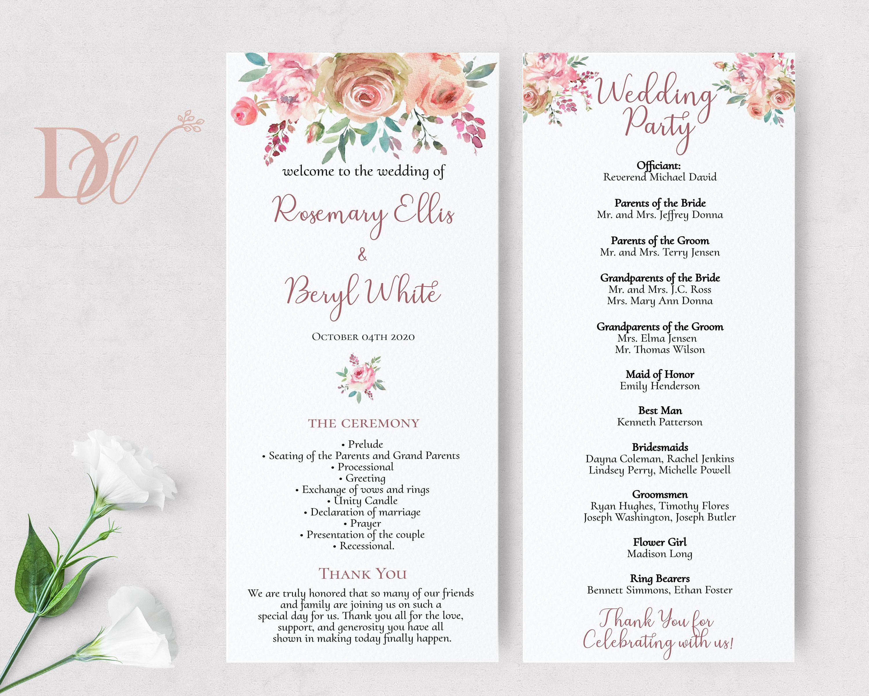Wedding Program, Pink Blush Floral Watercolor Order of ...