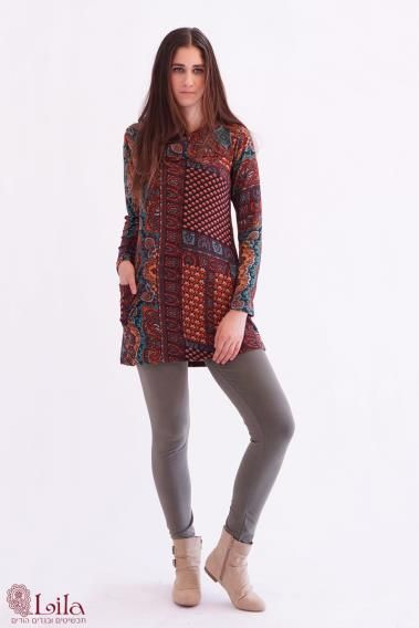 Unique tunic, warm and beautiful. Comes in all sizes- big and small. Many colors. Tights trousers- all sizes. Visit web site: http://www.lilain.co.il/