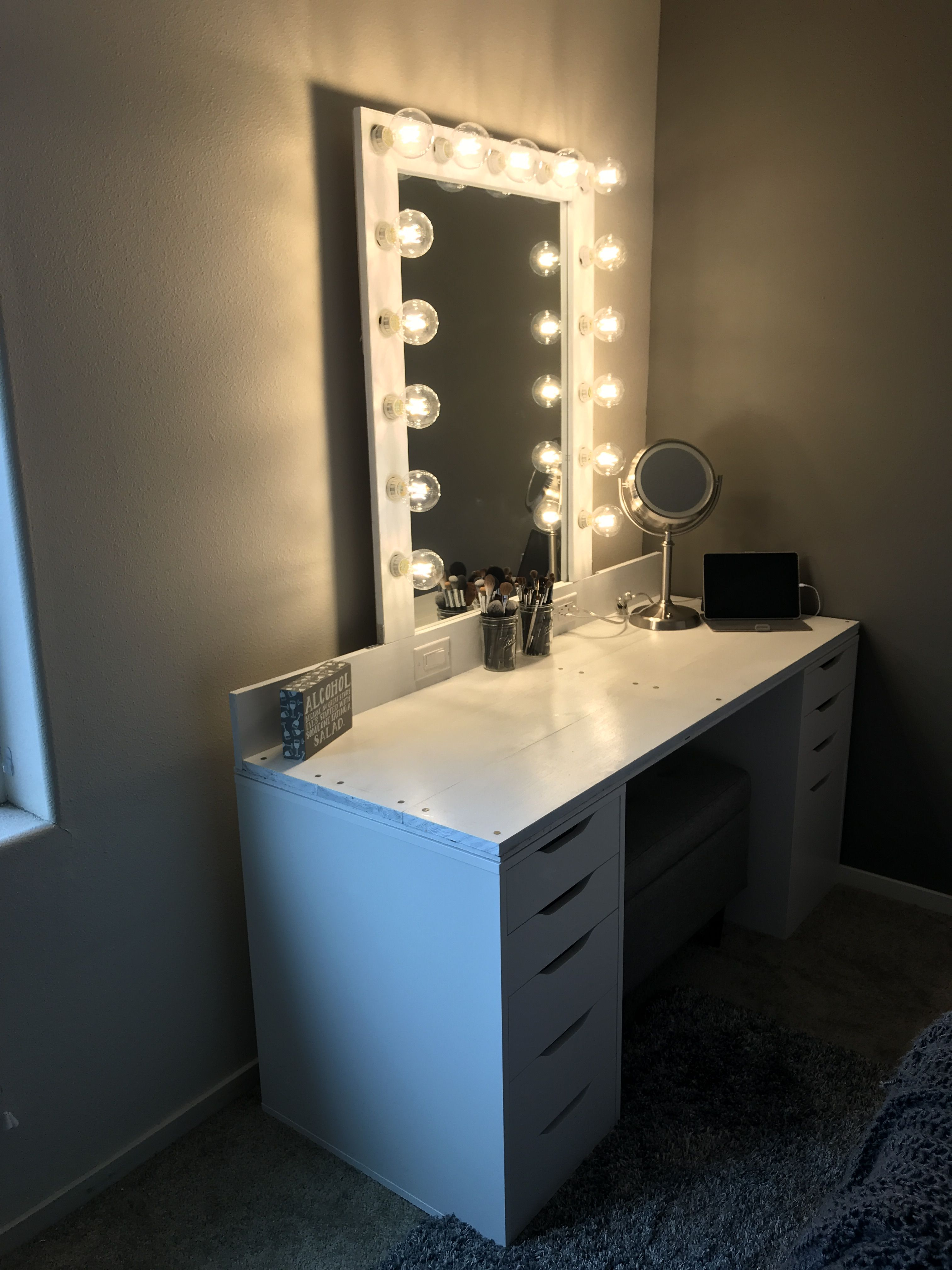 DIY Hollywood Makeup Vanity with Alex Drawers from IKEA