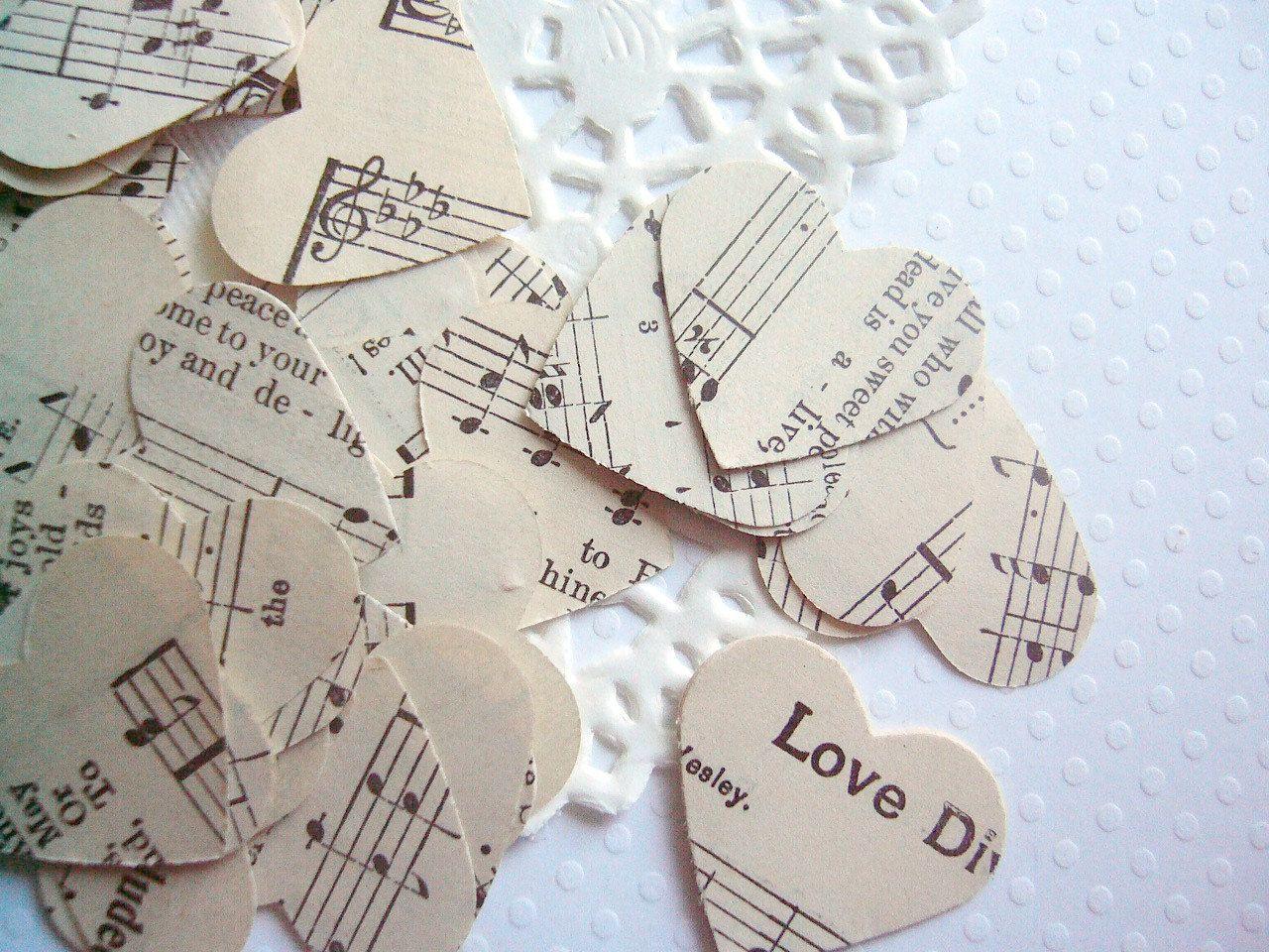 Vintage Wedding Decor - Hymnal Sheet Music Heart Confetti - wedding ...